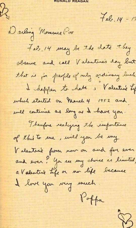 Ronald Reagan writes to Nancy on Valentine's Day.